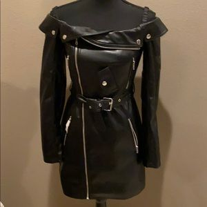 Faux Leather off the shoulder mini dress
